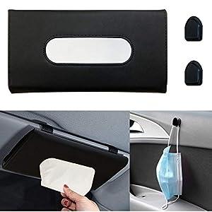 Mask Holder for Car , GLORJEE Sun Visor Napkin Holder Backseat Tissue Case, Premium Car Tissue Box for car, Vehicle (Black)