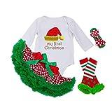 YuanDiann Bimba Outfits Natale per i più piccoli Costume il mio primo Natale Fancy Vestito 1 ° di natale tutu + pagliaccetto la tuta + bowknot fascia 0-3 bocche 5 # Cappello