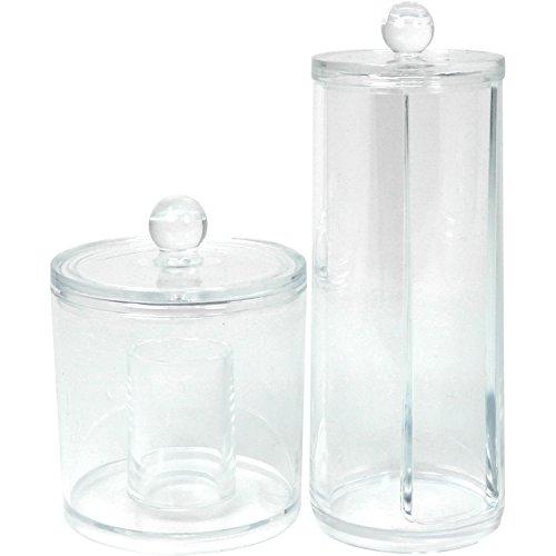 com-four® 2-teiliges Set Kosmetik Organizer - Runde Kunststoff Boxen zur Aufbewahrung von Wattepads, Wattestäbchen und Make-Up (02-teilig - Kosmetikorganizer)