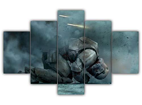 KOPASD Cuadro sobre Lienzo - 5 Piezas - Soldado Sith De Star Wars - Ancho: 150Cm, Altura: 80Cm - Listo para Colgar - En Un Marco