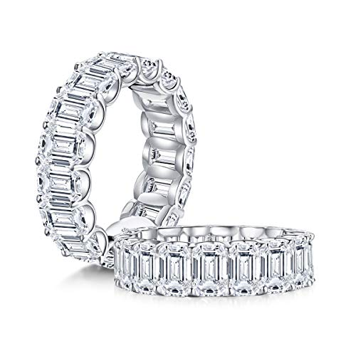 Eternity Rings, Eternity Rings For Womens, Gifts For Womens(Emerald Cut/Curved Rings Band)-AINUOSHI
