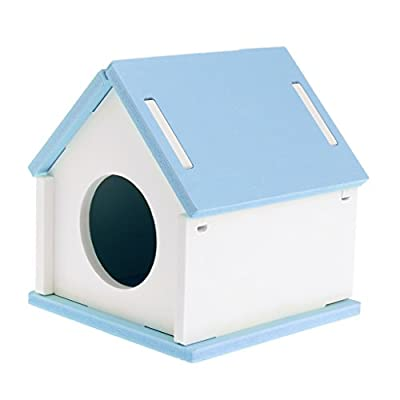 ZOOMY Hamster Sleeping House Cage Wood Bed Nest Cage Toy for Small Animal Pet Guinea Pig Squirrel Gerbil-Blue from ZOOMY