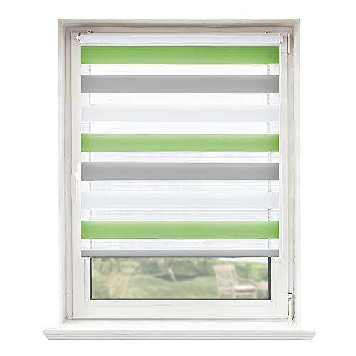 Doppelrollo, Rollos, Seitenzugrollo Easyfix, Klemmfix ohne Bohren, Sonnen- und Sichtschutz für Fenster und Tür Grün+Grau+Weiß, 90 x 150 cm