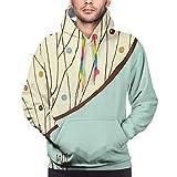 Men's Hoodies Sweatshirts,Aqua Hand Drawn Funk Depiction of Tree Form with Dots Doodle Lines Art Print,Small