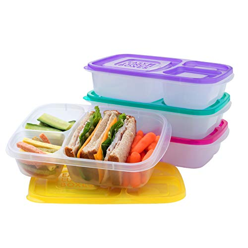 EasyLunchboxes - Bento Lunch Boxes - Reusable 3-Compartment Food Containers for...
