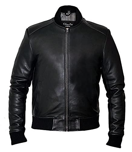 Veste bomber en cuir style sable - Coupe ajustée - Pour homme - Noir - Large