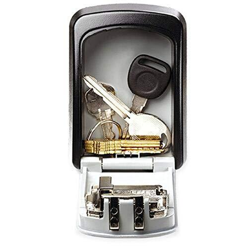 Caja fuerte con llave y soporte de pared exterior, combinación de bloqueo por palabra de pasador ocultos, caja de almacenamiento, caja fuerte de seguridad, caja fuerte con llave de combinación.