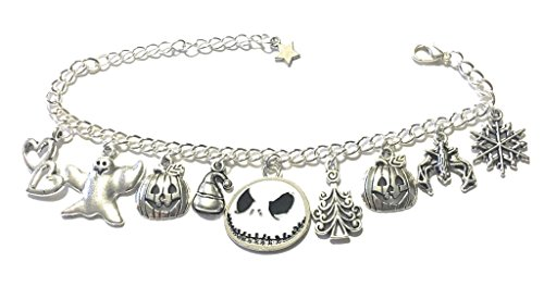 Giulyscreations Armband metaal nikkel gratis Nightmare Before Christmas Jack Skeletron Skellington Anime Halloween Kerstmis Pop Sally Zero Fantasy Cosplay
