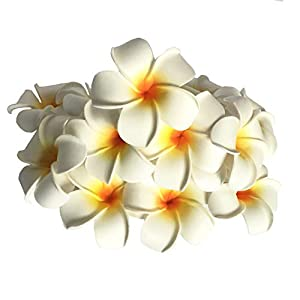 Josairy Water Floating Plumeria Artificial Flower Frangipani for Pool Decoration and Bathtub 20 Pieces (White)