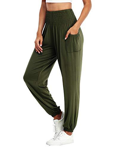 Dilgul Pantaloni da donna per yoga, pilates, tempo libero, elasticizzati, lunghi verde militare 40