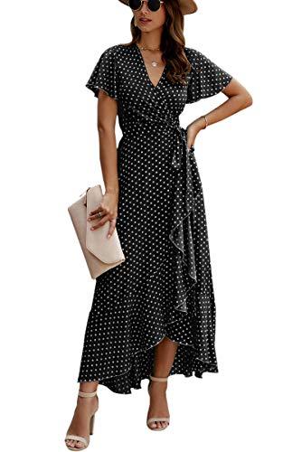 Spec4Y Damen Boho Lange Kleider V-Ausschnitt Sommerkleider Kurzarm Wickelkleid Maxikleid Strandkleid mit Schlitz 032Schwarz M