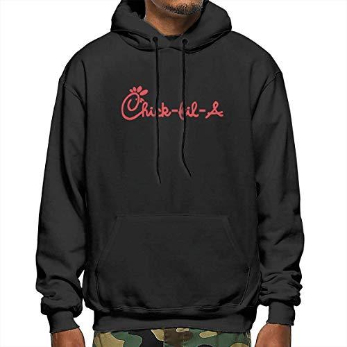 Design Chick Fil A Logo Pullover Hooded Sweatshirt for Men Black,Black,XX-Large