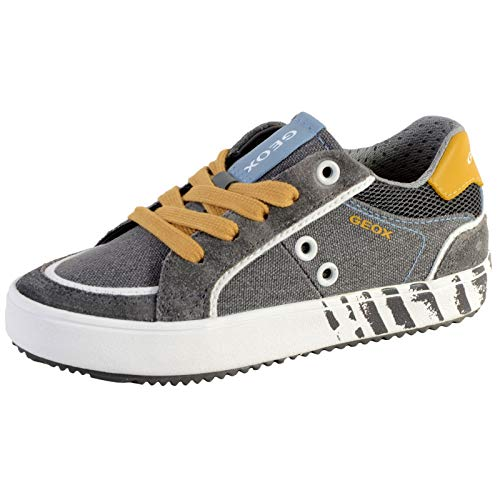 Geox J Alonisso Boy E, Sneakers Basses, Gris (Grey/Yellow C0030), 31 EU