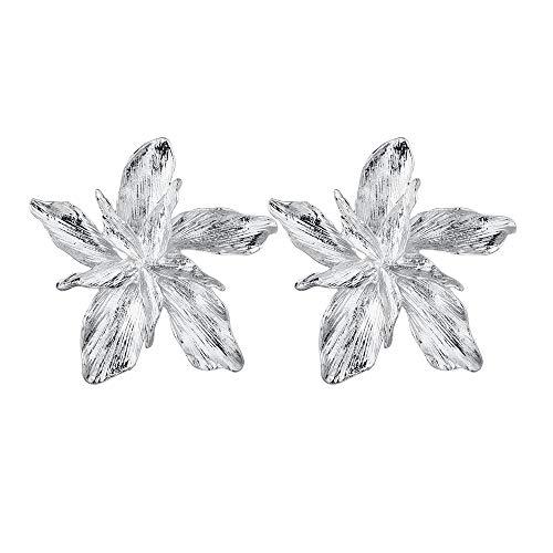 S925 Accesorios de aguja de plata Pendientes europeos y americanos Pendientes de flores tridimensionales de metal Pendientes B