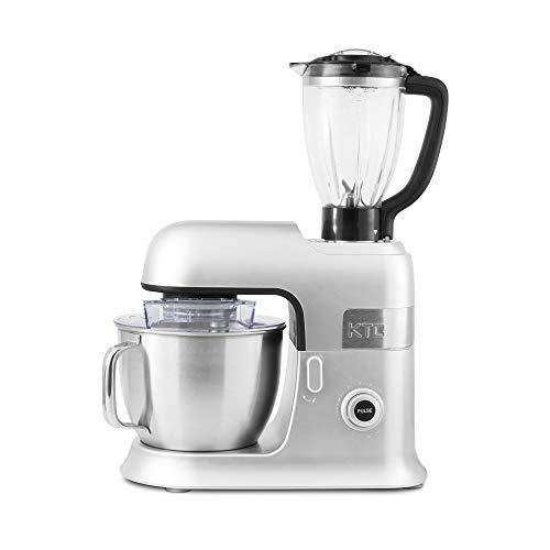 Kitchencook Küchenmaschine Petrin, 6,5 l, Standmixer mit Zubehör aus Teflon Expert XL, silberfarben, 1300 W, 6,5 l