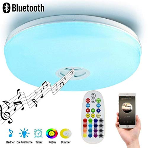 24 watt plafondinbouwlamp met afstandsbediening, smartphone-app met ingebouwde bluetooth-luidspreker, muziek-plafondlamp, RGB kleurtemperatuur instelbaar.