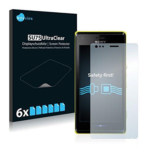 Savvies 6X Schutzfolie kompatibel mit Sony Xperia M C1904 / C1905 Bildschirmschutz-Folie Ultra-transparent