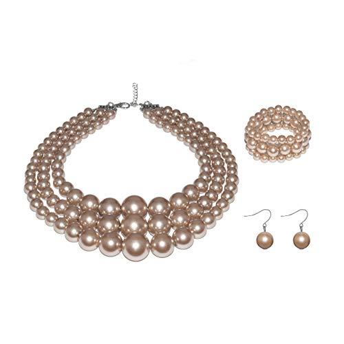 Metme Damen 3 Layer Faux große Perlenschmuck Sets Anweisung Strands Halskette Armband und Ohrringe Set