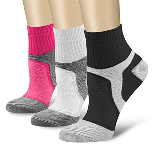 3//6//7 Pairs Compression Socks for Women and Men Sport Plantar Fasciitis Arch Support Low Cut Running Gym Compression Foot