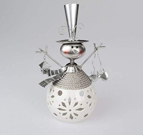 Formano - Windlicht Schneemann aus Keramik + Metall