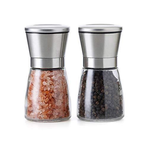 AIHOME Set de Deux élégants moulins à sel Poivre Taille de Grain réglable - Obtenez du sel, du Poivre d'Autres épices fraîchement moulues grâce à ce Set salière/poivrière en Acier brossé Verre.