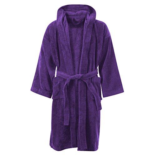 Albornoz de MyShoeStore® para niños, 100% algodón egipcio, con capucha, muy suave y cómodo Morado morado 8-10 Años
