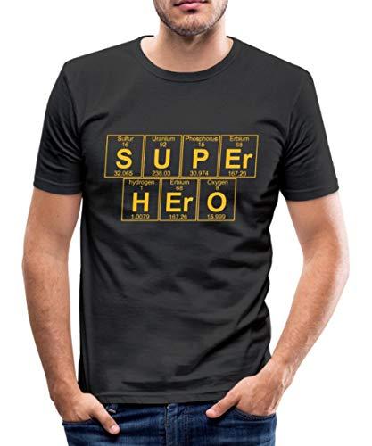 Spreadshirt Chimie Super-Héro Éléments Chimiques T-Shirt Près du Corps Homme, M, Noir