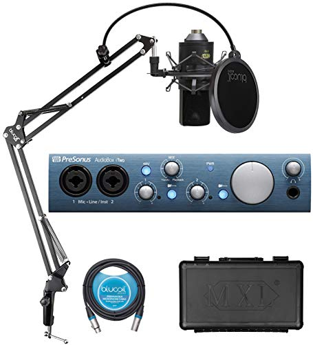 PreSonus AudioBox iTwo USB Audio Interface for Windows, Mac and iPad Bundle with Studio One Artist, MXL 770 Cardioid Condenser Microphone, Blucoil Boom Arm Plus Pop Filter and 10-FT Balanced XLR Cable