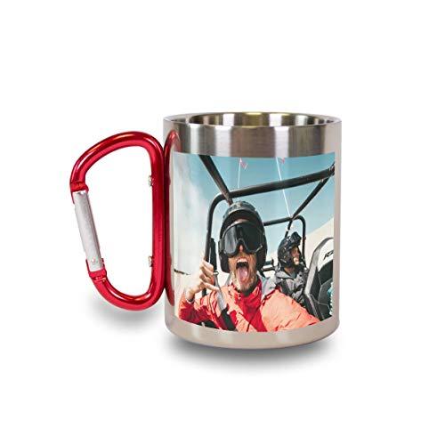 Thermo-Edelstahlbecher mit rotem Karabinerhaken mit eigenem Foto oder Text selbst gestalten - Silberner Becher mit Text oder Motiv Bedrucken Lassen