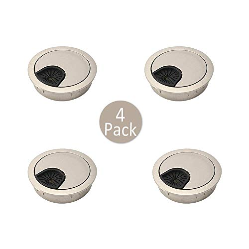 60 mm Pasacables de Mesa, 4 Piezas Tapa Pasacables de Metal, Organizador...