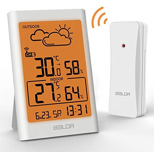 TEKFUN Wetterstation Funk mit Außensensor, Digital Thermometer Hygrometer Innen und Außen Raumthermometer Hydrometer Feuchtigkeit mit Wettervorhersage, Uhrzeitanzeige und Warmes Nachtlicht (Weiß)