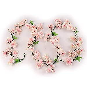 Larksilk Cherry Blossom Flower Garland, Soft Pink & Green Hues, Three 4.5Ft Garlands, 114 Total Silk Cherry Blossom Flowers, Increase Garland Length by Tying Together