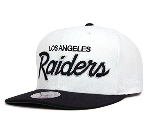 Mitchell & Ness Los Angeles Raiders White & Black Script Adjustable Snapback Hat NFL