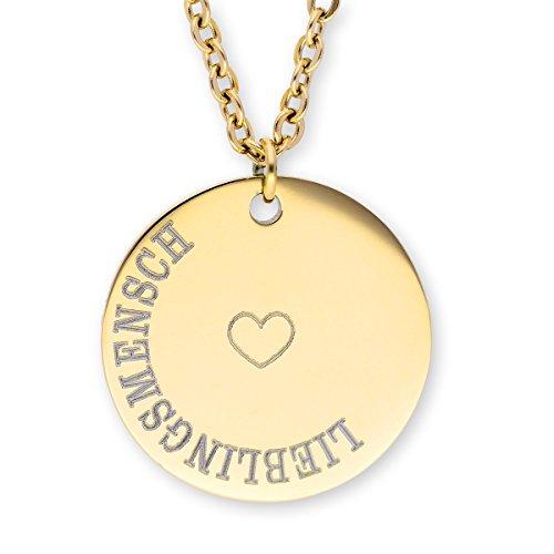 URBANHELDEN - Damen-Kette mit rundem Motiv Anhänger - Hals Kette Amulett - Edelstahl - Gravur Herz Lieblingsmensch Gold