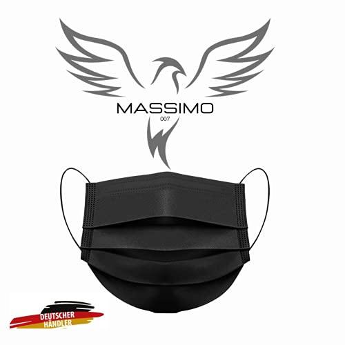 MASSIMO 007 100 Stück Medizinische Masken Schwarz OP Masken Schwarz CE Zertifiziert EN14683 TYP IIR BFE ≥ 98% Schwarze Gesichtsmaske Medizinischer Mundschutz