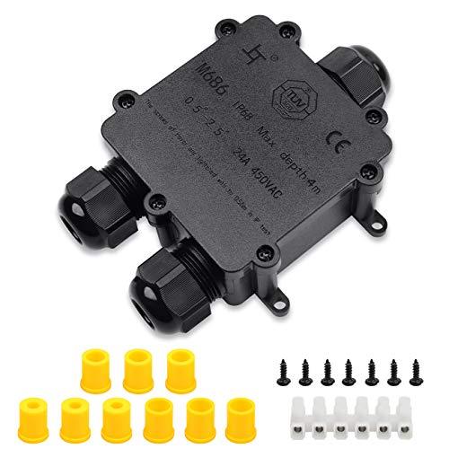 Abzweigdose IP68 Wasserdicht Kabelverbinder Aussen, HAUSPROFI Größere 3-Wege-Verbindungsdose Erdkabel Schwarz Elektrischer Außenverteilerdose,Kabelverschraubung Ø 4mm-14mm, ABS + PVC