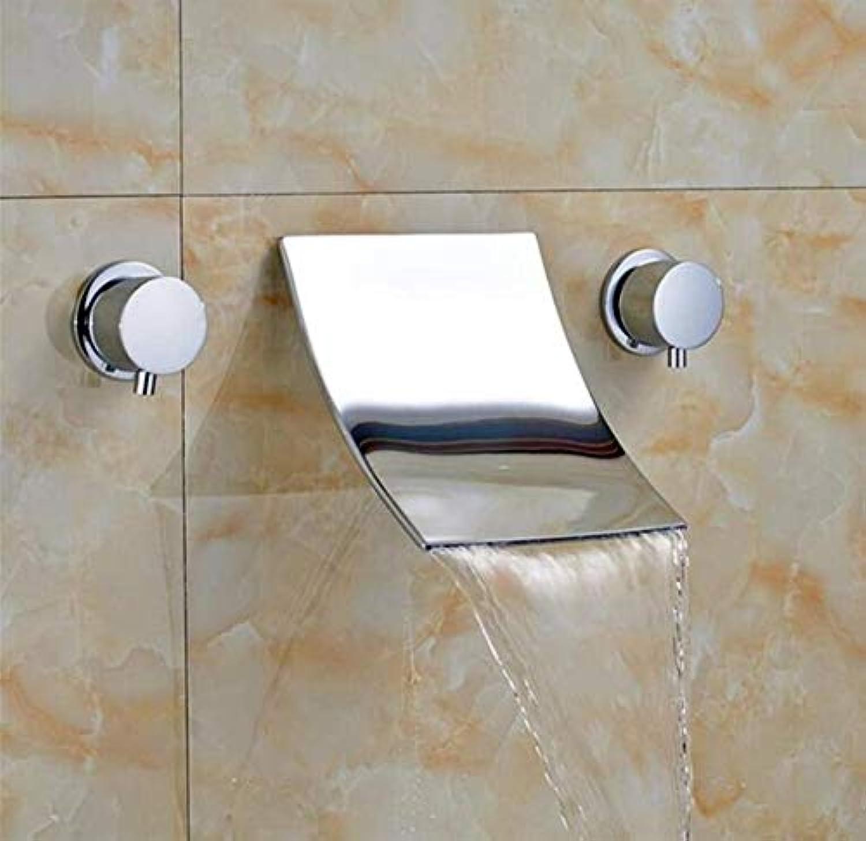 Messing Wandhahn Chrom Messinghahnchrome Widespread Badezimmer-Becken-Hahn-Doppelhandgriff-An Der Wand Befestigter Mischer