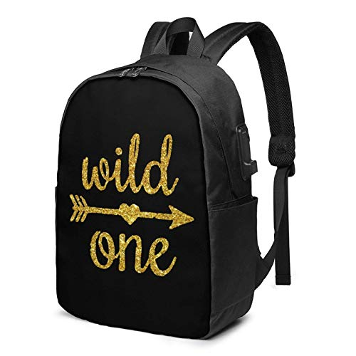 Wild One Gold Glitter 1st Birthday Busin Laptop School Bookbag Travel Bapack with USB Charging Port & Headphone Port Fit 17 in