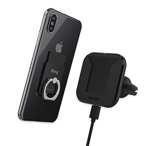 AAUXX iRing Link Lock Wireless Car Charge, 10W Fast Charging Car Mount, Air Vent Holder, Compatible for iPhone 11, 11Pro, X, Xs, and 8, Galaxy S20, S10, S9, S8 and Other Android Smartphone.