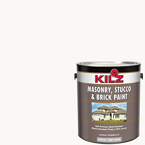 KILZ 13511201 L340711 Interior/Exterior Self-Priming Masonry, Stucco and Brick Flat Paint, 1 Gallon, Angel Wing/Bright White
