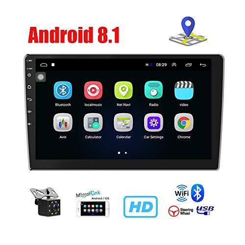 Autoradio 2 Din Android 8.1 GPS - Podofo 10'' Touch Screen Bluetooth Lettore Stereo Dashboard Audio Nav Lettore video 1080p, WIFI FM Ricevitore Mirrorlink con telecamera di retromarcia