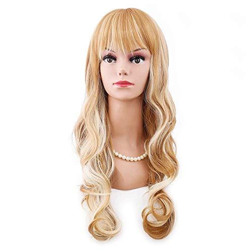 Perruque Sexy Lady Perruques Complètes avec Frange pour Femmes Blonde Marron Mélange Fibre à Ondes Longues Naturel Parfait pour Un Usage Quotidien