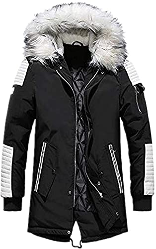 forevercos Men's Winter Thick Long Coat Casual Hooded Warm Outwear Jacket Cotton Down Jacket