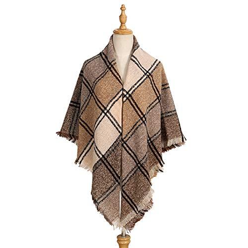 yxr Bufanda cuadrada para mujer de otoño e invierno con cerdas gruesas