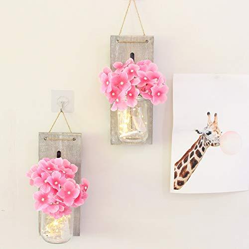 Cadena de la luz de la decoración retra del hogar de Balight con la botella de cristal Falsa flor de la decoración de la pared de la flor falsa