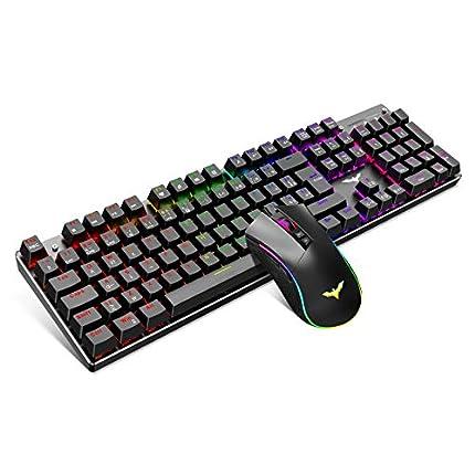 havit Teclado mecánico Gaming y ratón Español Teclados Gaming con Cable, Azul Anti-Efecto Fantasma de 105 Teclas, Ratón Gaming programable 4800DPI, Negro