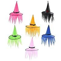iplusmile 6個ledウィザード帽子発光魔女帽子ハロウィンパーティーled照明ウィザード魔女帽子ハロウィンパーティーギフトを好意 (ランダムな色)