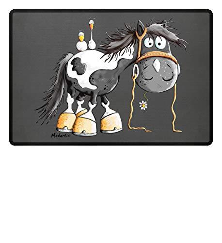 Happy Pinto Pferd Comic I Schecke Tinker I Modartis Pferde I Pony I Reiter Geschenk - Fußmatte -60x40cm-Mausgrau