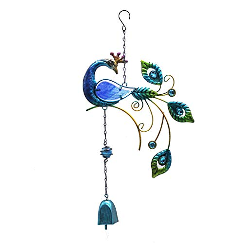 LWAN3 Peacock Wind Chime w/Colorful Glass Tubes, Outdoor Large Hanging Pendant for Yard Garden Ornament