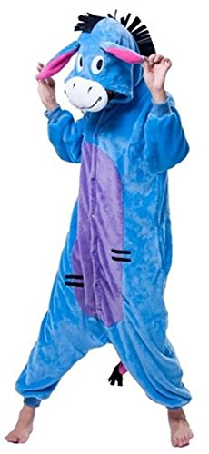 WOWcosplay Jumpsuit Tier Cartoon Fasching Halloween Kost¨¹m Sleepsuit Cosplay Fleece-Overall Pyjama Schlafanzug Erwachsene Unisex Kigurumi Tier ,Esel XL